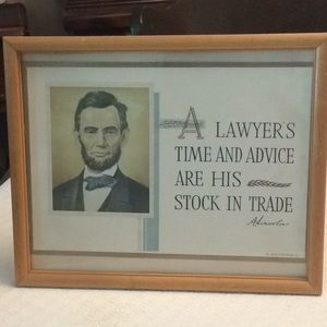 Framed picture of A. Lincoln.